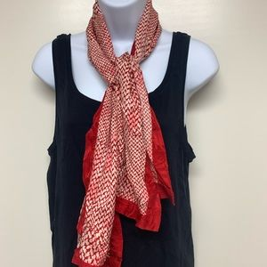 Red and White Polka Dot Patterned Scarf